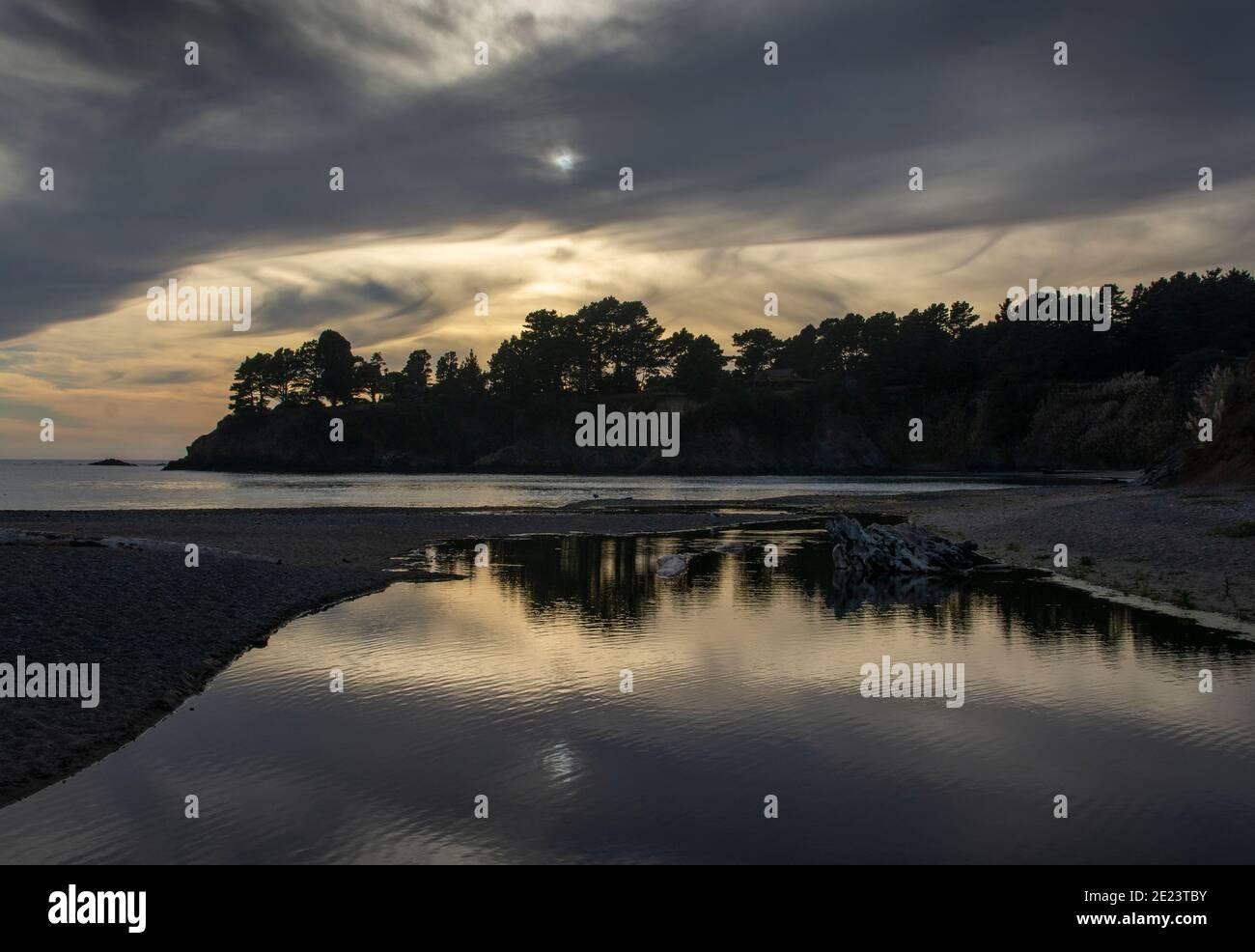 Sunset on the Mendocino Coast, California Stock Photo