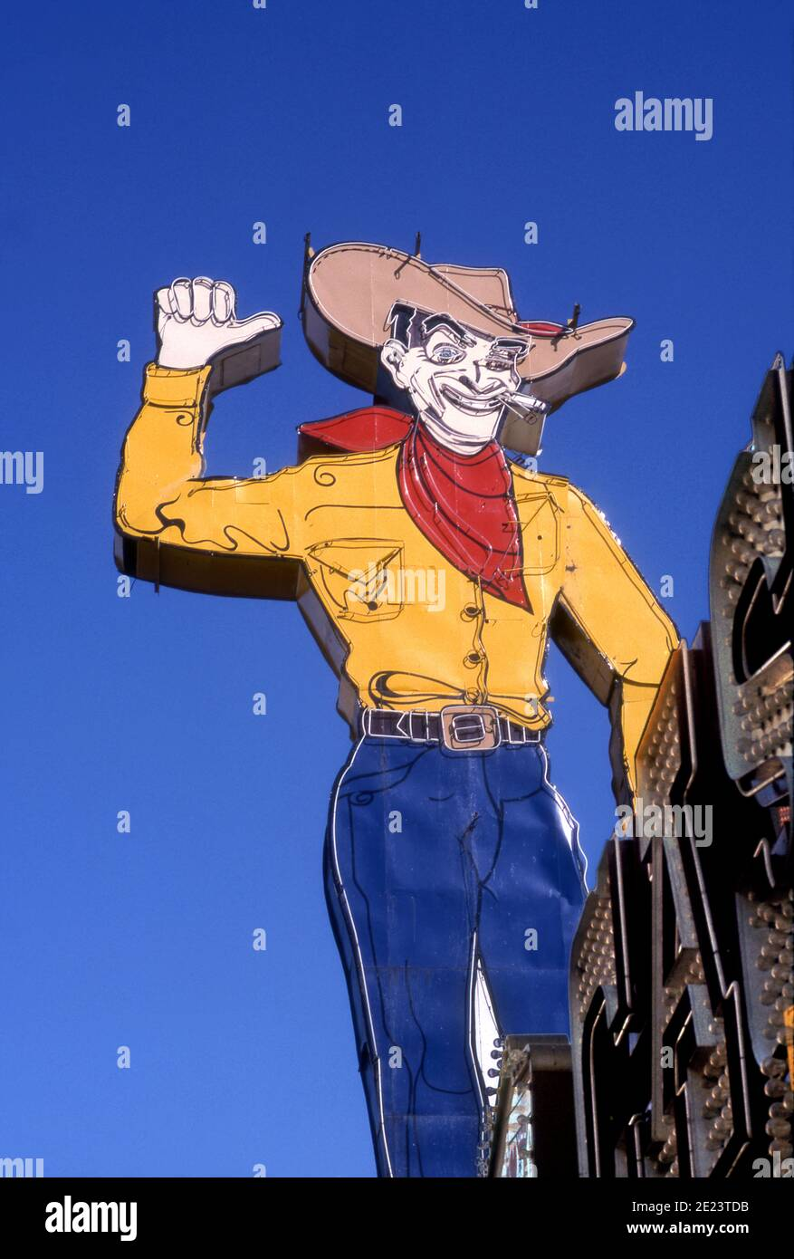 Iconic Cowboy neon sign on Fremont Street in Downtown Las Vegas, Nevada Stock Photo