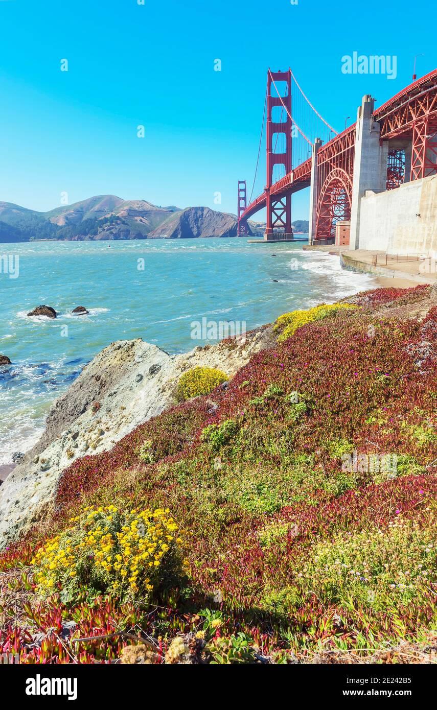View of Golden Gate Bridge from Bakery beach, San Francisco, California, USA Stock Photo
