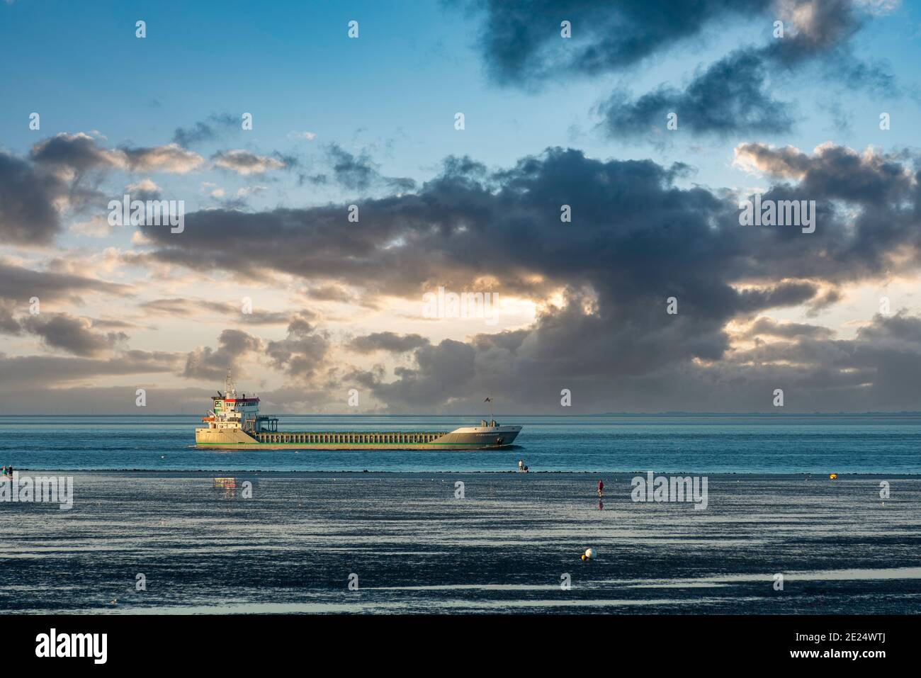 View over the Wadden Sea to the world shipping route Elbe, Cuxhaven, Lower Saxony, Germany, Europe Stock Photo