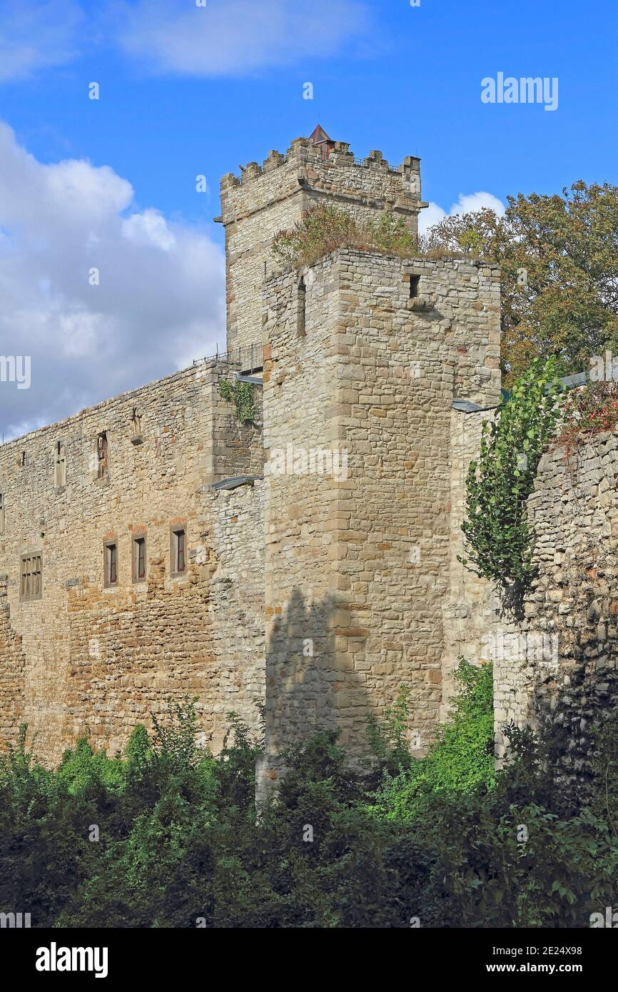 Fortified tower of the Eckartsburg castle in Germany Stock Photo