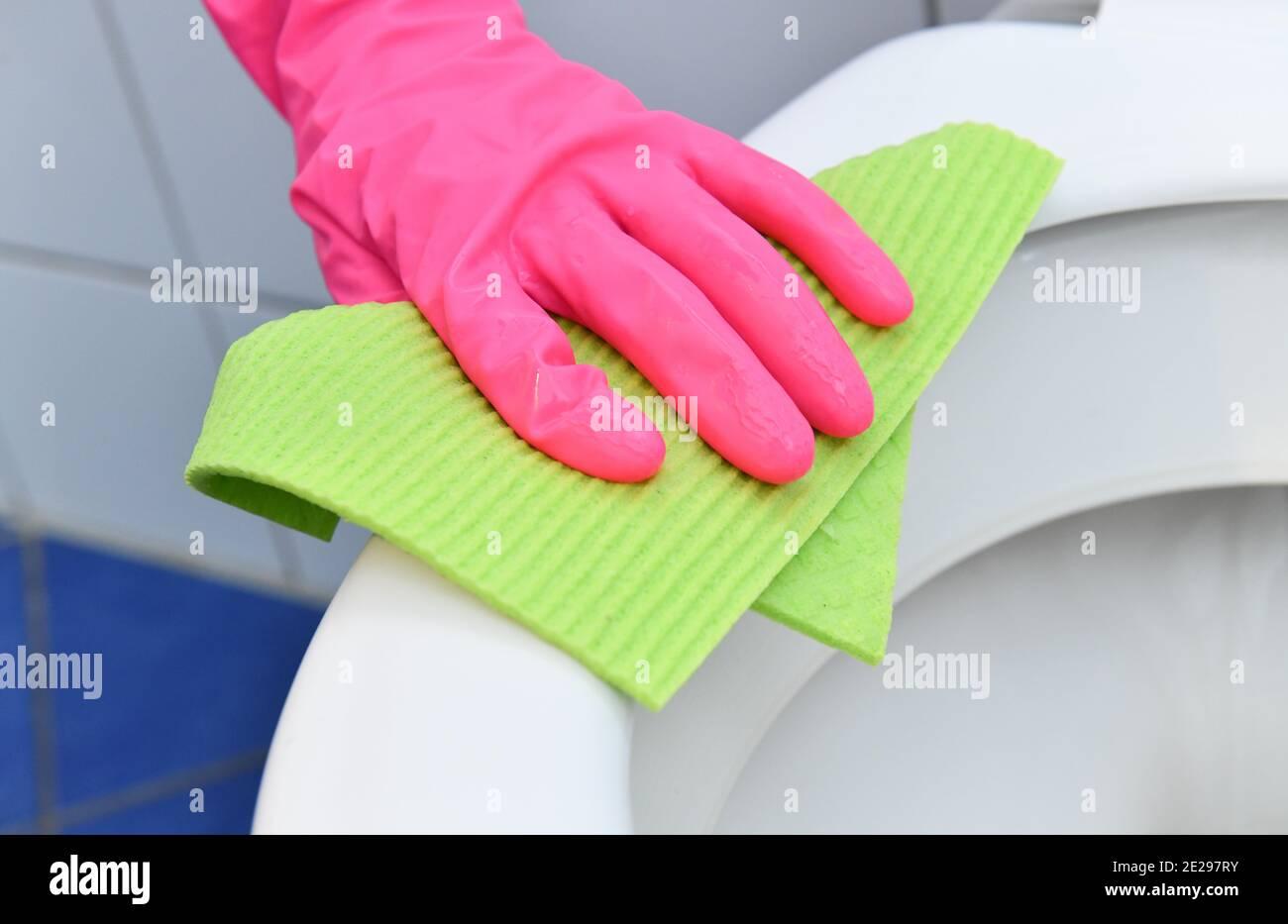 Reinigung, Badezimmer, Toilettensitz Stock Photo