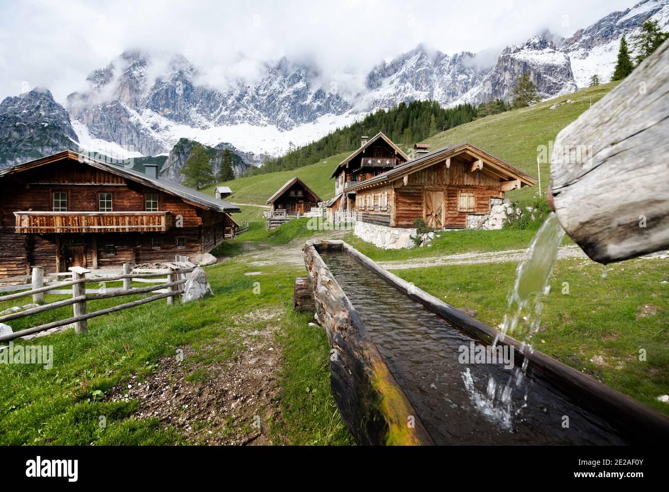 Scenic mountain village with old cabins in the Austrian Alps, Neustattalm, Ramsau am Dachstein, Styria region, Austria Stock Photo
