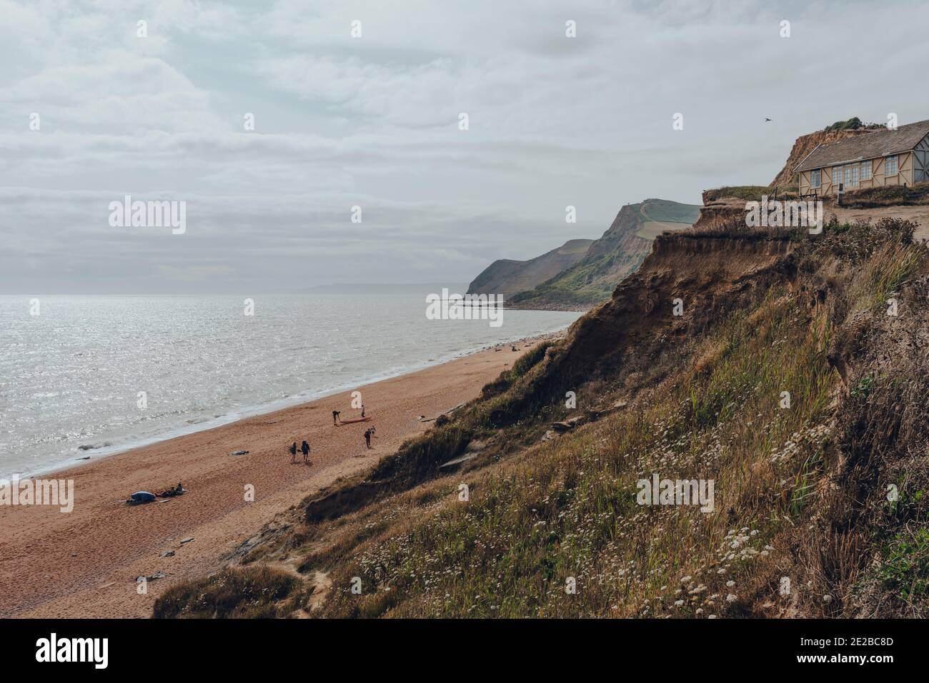 Eype Beach, UK - July 25, 2020: Scenic view of the Eype Beach and Jurassic Coast, a World Heritage Site on the English Channel coast of southern Engla Stock Photo