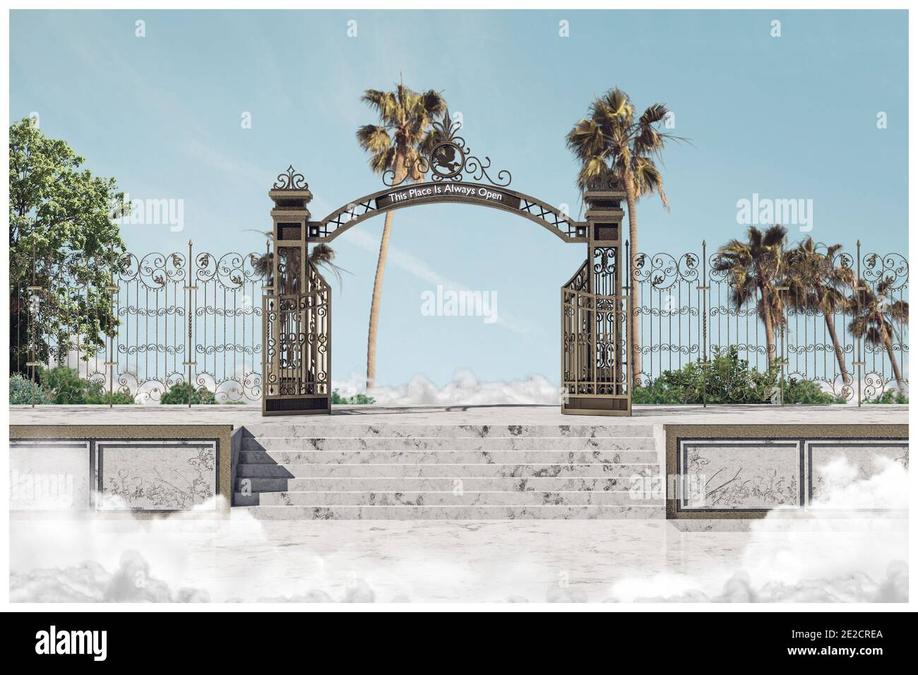 heaven gate, this place is always open, 3d illustration Stock Photo