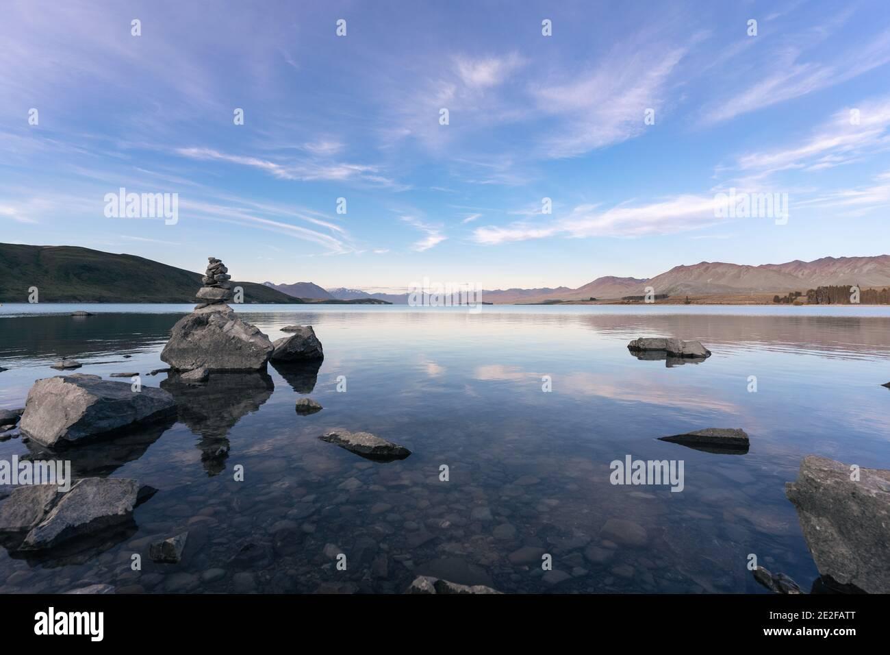 Peaceful landscape of Lake Tekapo in the South Island of New Zealand. Canterbury Region Stock Photo