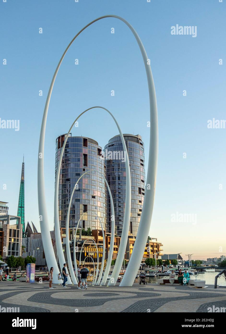 High rise residential towers and sculpture Spanda at Elizabeth Quay The Esplanade Perth Western Australia Stock Photo