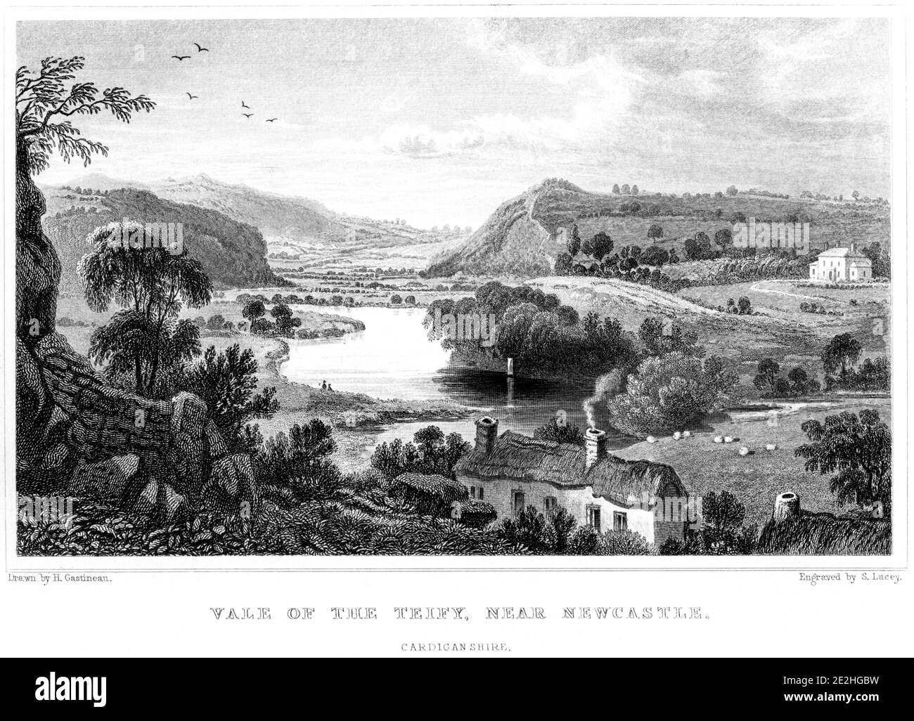 An engraving of the Vale of the Teify near Newcastle (Emlyn), Cardiganshire scanned at high resolution from a book published in 1854. Stock Photo