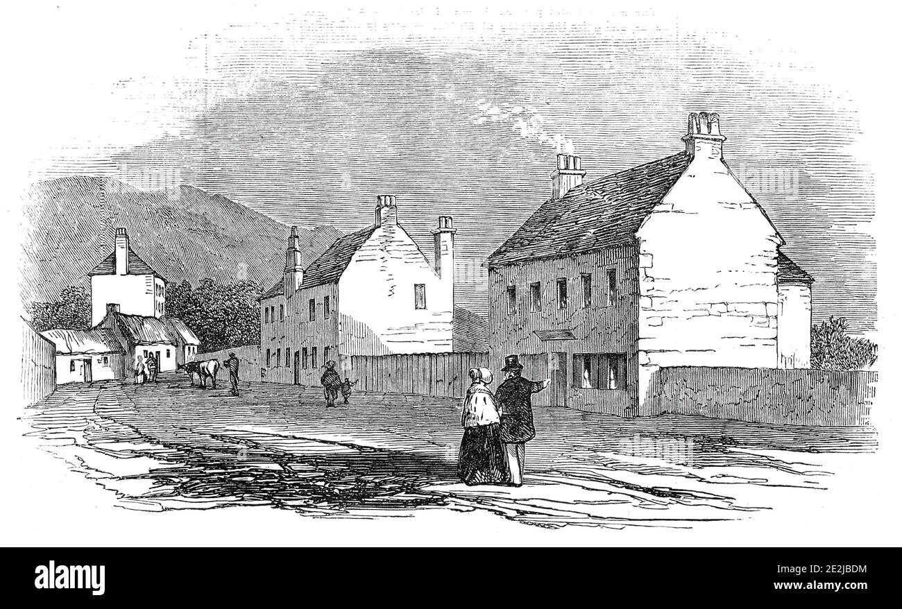 """House at Duddingstone, where the Pretender slept on the night before the Battle of Prestonpans, 1845. In 1745, '...a band of about 2400 ill clad, worse armed, and half civilised Highlanders moved from Duddingstone, near Edinburgh, under the command of Prince Charles Edward Stuart, to meet about the same number of """"regulars,"""" horse and foot...commanded by Sir John Cope. Having marched about eight miles in a south-easterly direction, they halted between the villages of Tranent and Prestonpans, on the shores of the Firth of Forth...The house belonged to Colonel Gardiner, who led the tro Stock Photo"""