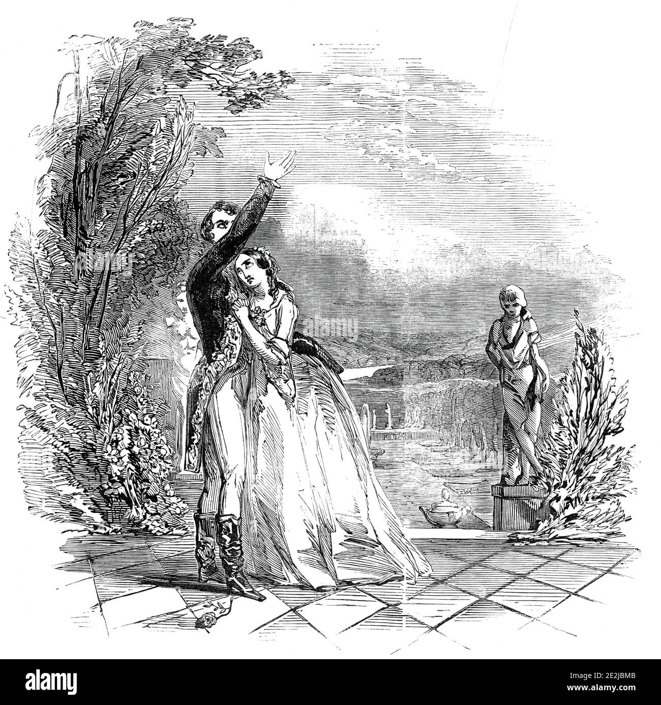 "Scene from ""The Lady of Lyons"" at the Haymarket Theatre, 1845. London stage production of ""The Lady of Lyons; or, Love and Pride"", a romantic melodrama written in 1838 by Edward Bulwer-Lytton, 1st Baron Lytton. '...the First Scene of the Second Act...Claude Melnotte (Mr. Anderson), pretending to be the Prince of Como, is speaking to Pauline (Miss Helen Fawcit) of his imaginary Palace...'. From ""Illustrated London News"", 1845, Vol VII. Stock Photo"
