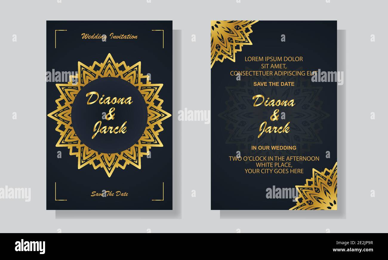 Wedding Invitation Card Template With Black And Golden Luxury Mandala Background Stock Vector Image Art Alamy