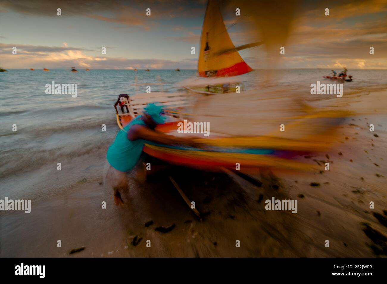 Daily movement on a beach in Maceió Brazil Stock Photo