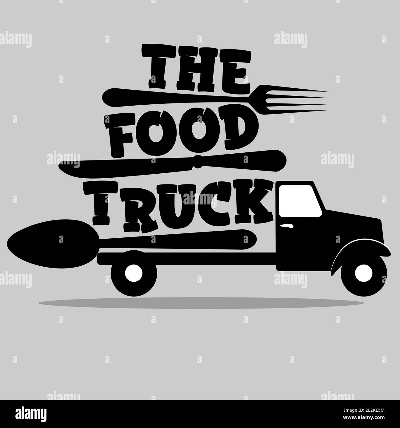 street food truck logo with spoon, fork and knife 2 Stock Vector