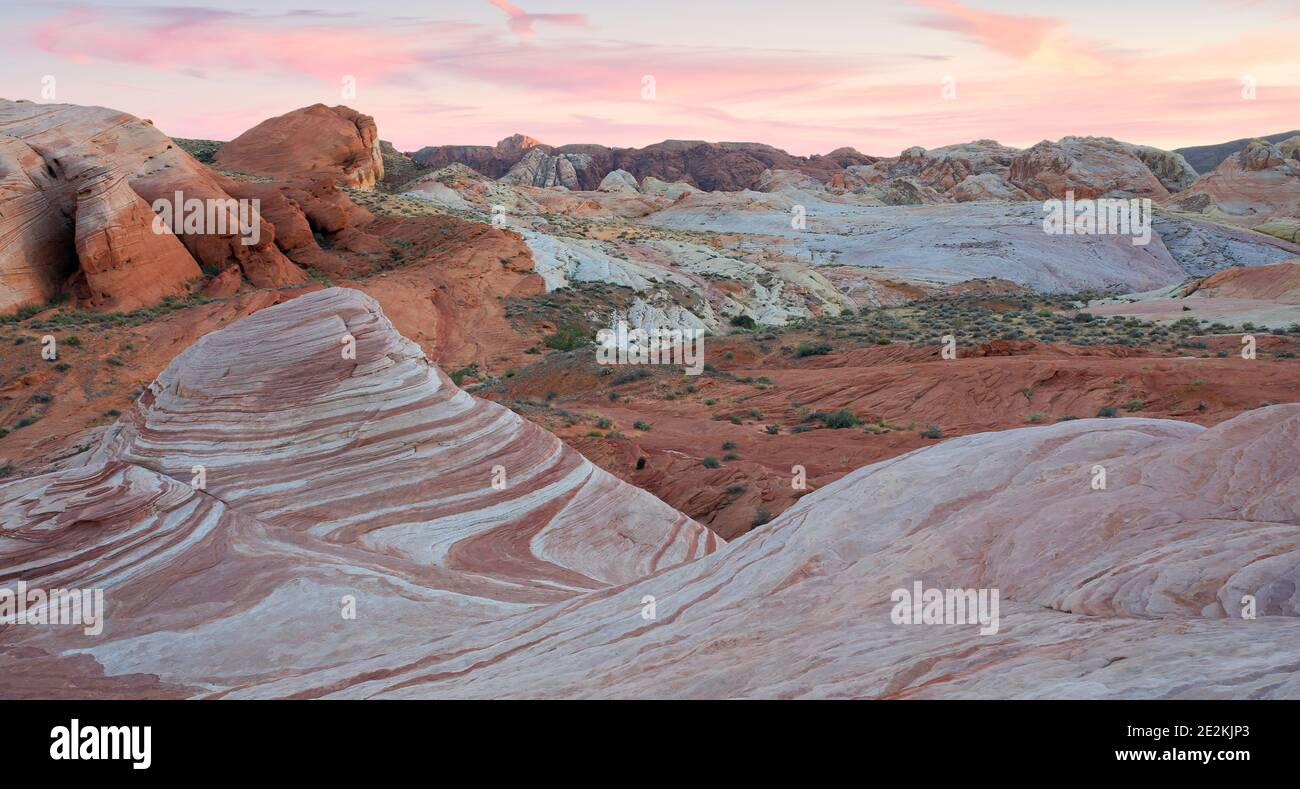 Sunset over Fire Wave Sandstone Formation Stock Photo