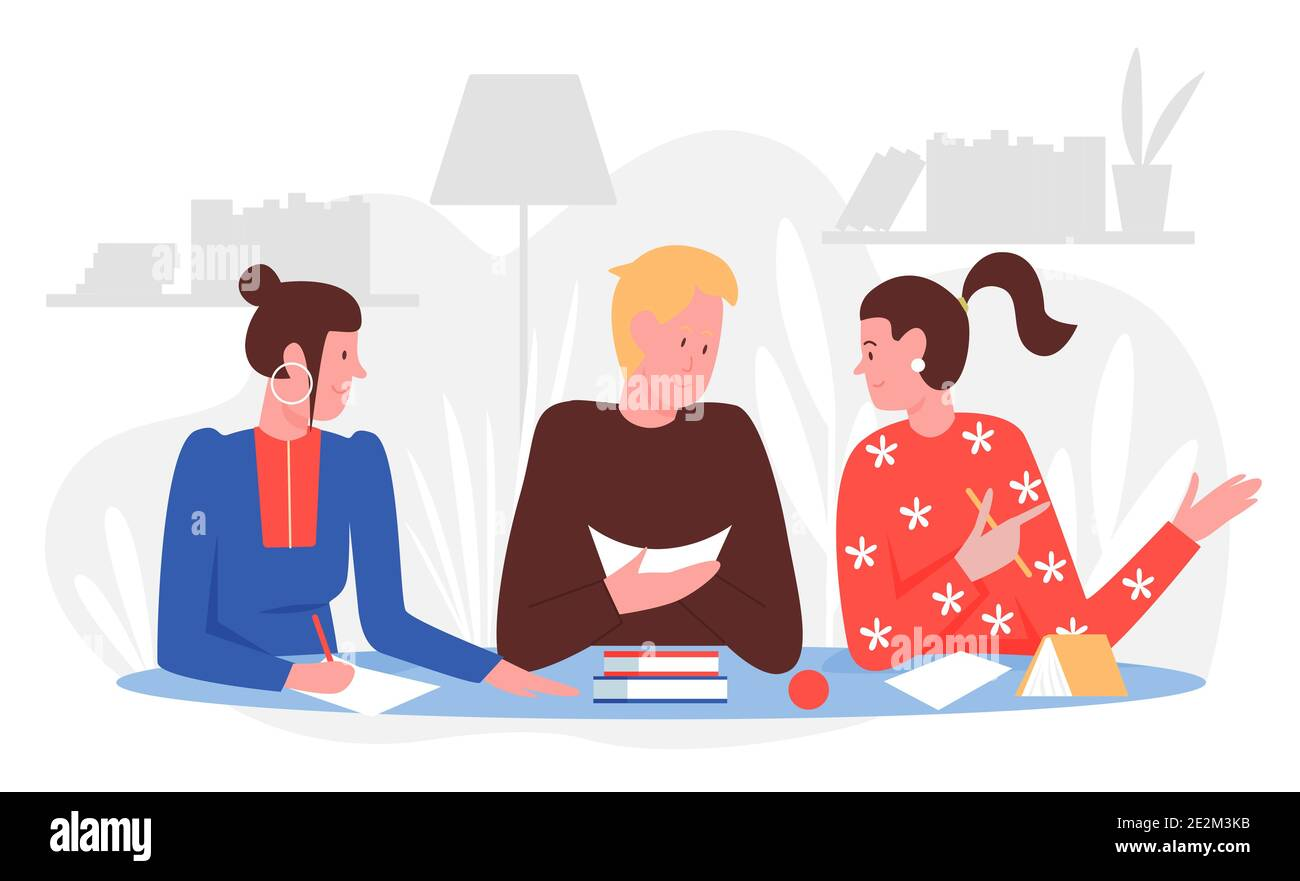 People students study with friends at home vector illustration. Cartoon young man sitting at table with books or textbooks, studying and talking with girls, doing homework together background Stock Vector