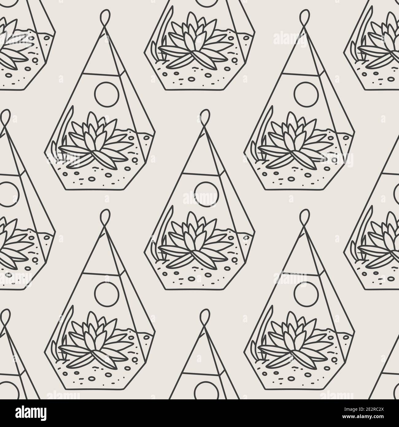 Seamless Succulent And Cactus Plants Seamless Pattern Vector Tropical Illustration Of Desert Flowers In Terrarium Hand Drawn Line Doodle Nature Prin Stock Vector Image Art Alamy