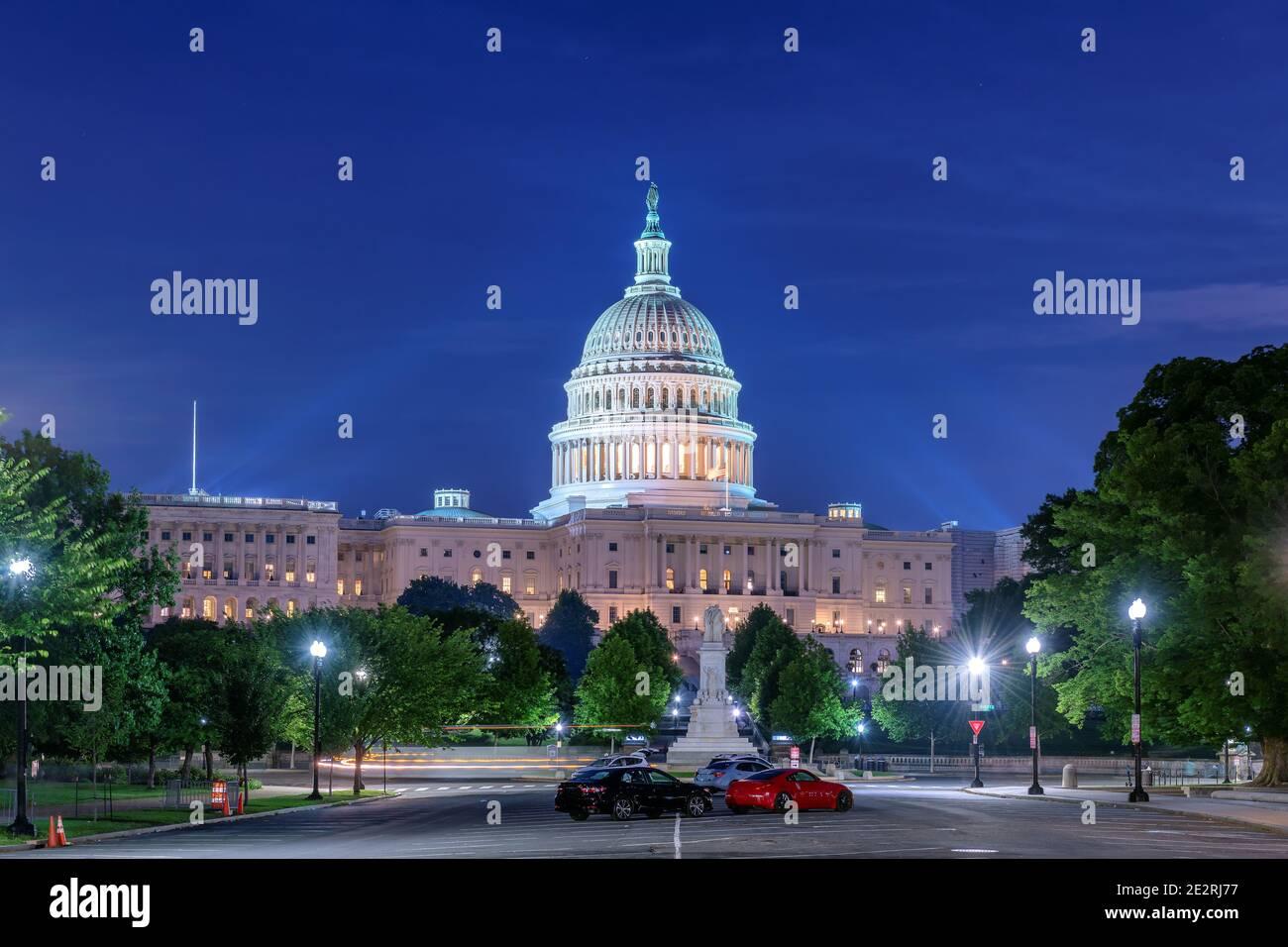 The United States Capitol building at night, Washington DC, USA. Stock Photo