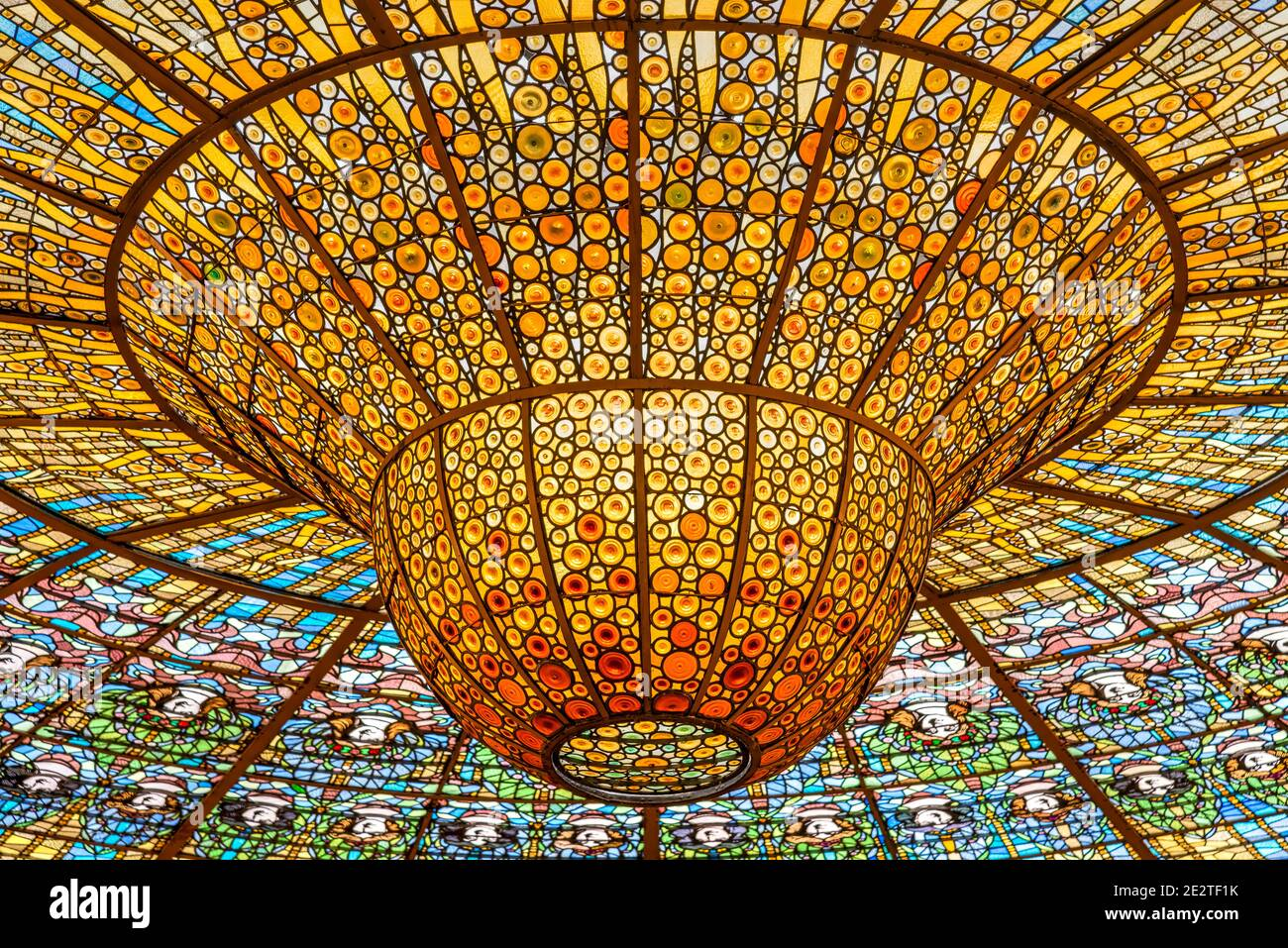 Stained-glass skylight, Palace of Catalan Music concert hall, Barcelona, Catalonia, Spain Stock Photo