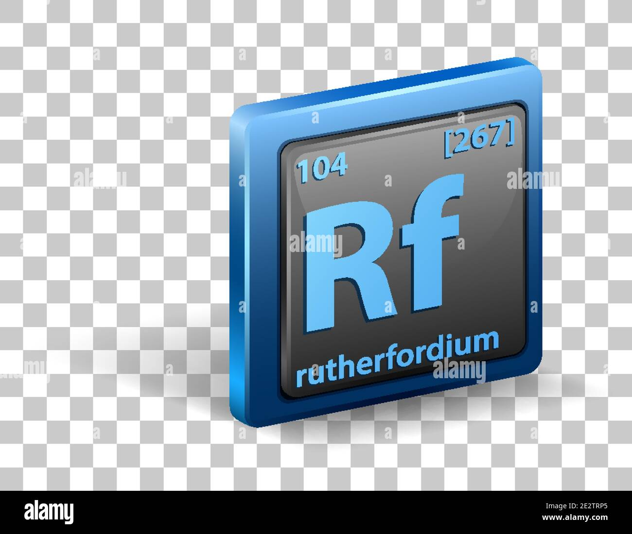 Rutherfordium chemical element. Chemical symbol with atomic number and atomic mass. illustration Stock Vector