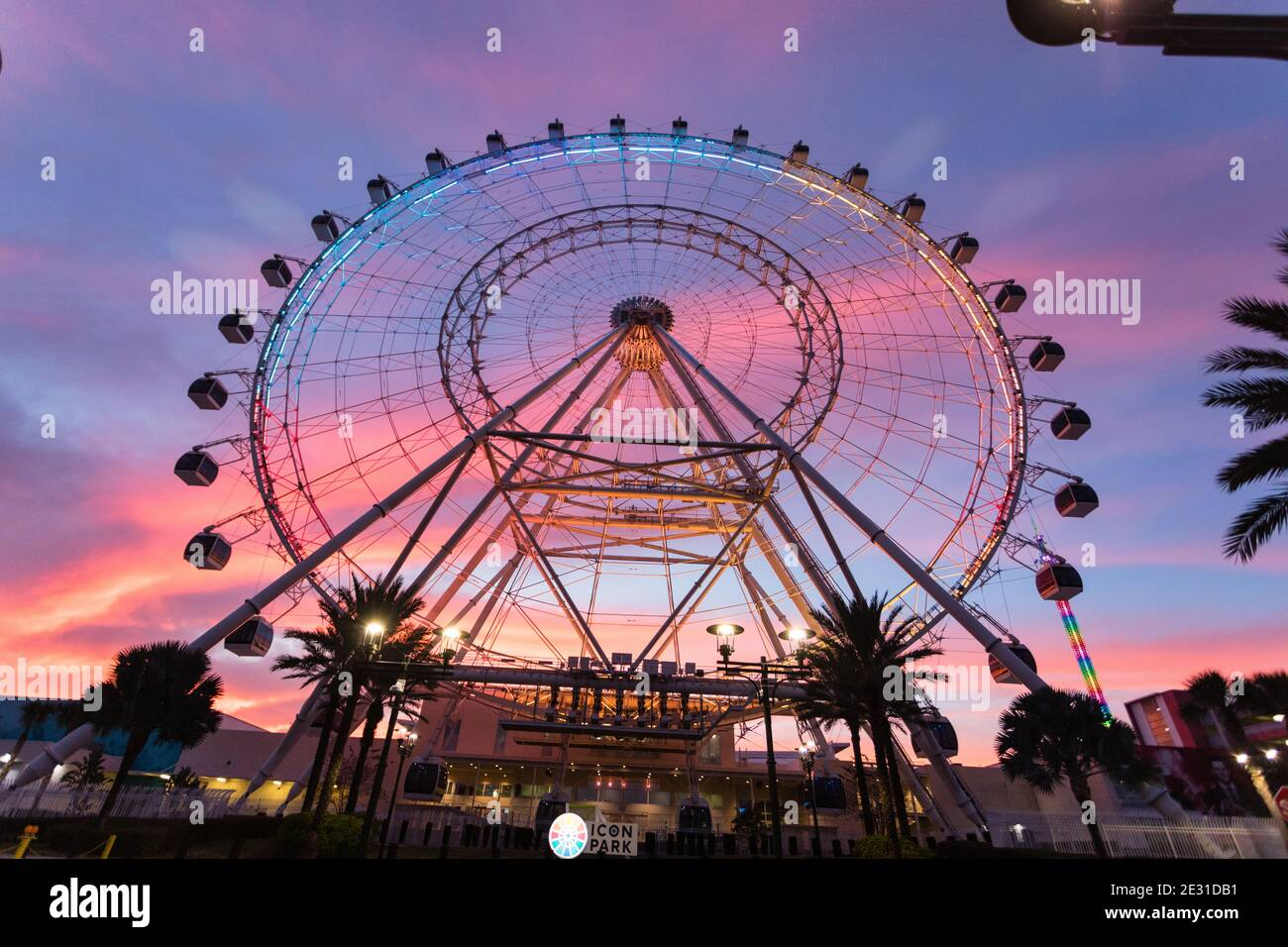 The Wheel at ICON Park Orlando at sunset Stock Photo