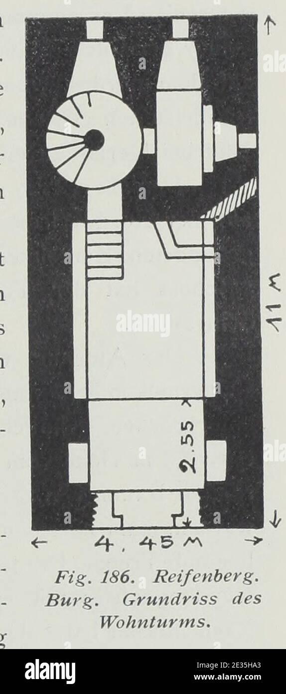 Luthmer II-186-Reifenberg Burg Grundriss des Wohnturms. Stock Photo