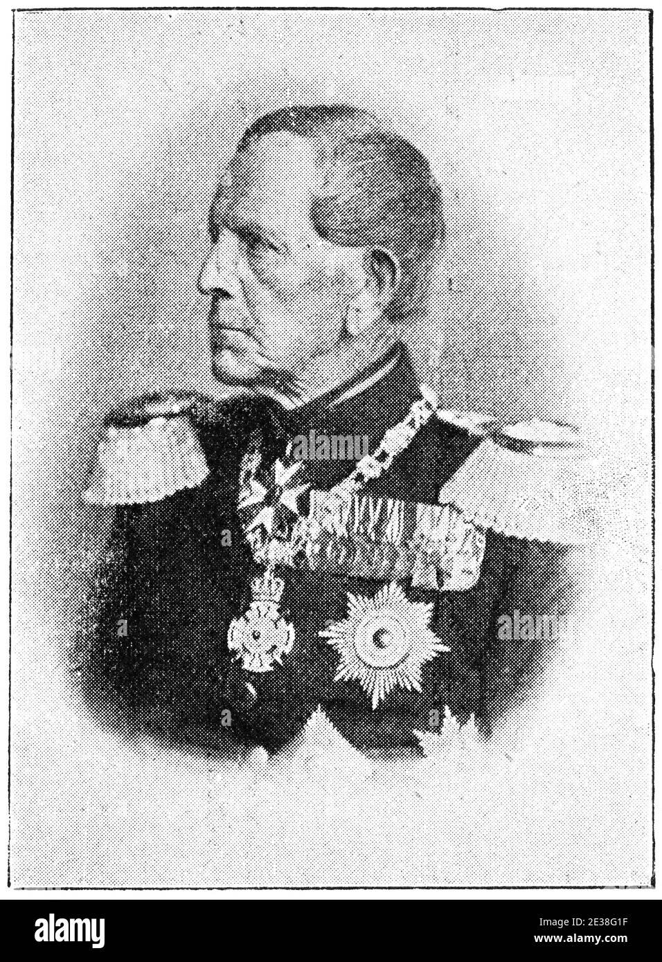 Portrait of Graf Helmuth Karl Bernhard von Moltke - a Prussian field marshal. Illustration of the 19th century. Germany. White background. Stock Photo