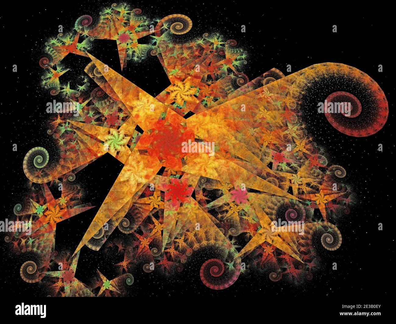 Colourful Spiraling Sparkly Design Stock Photo