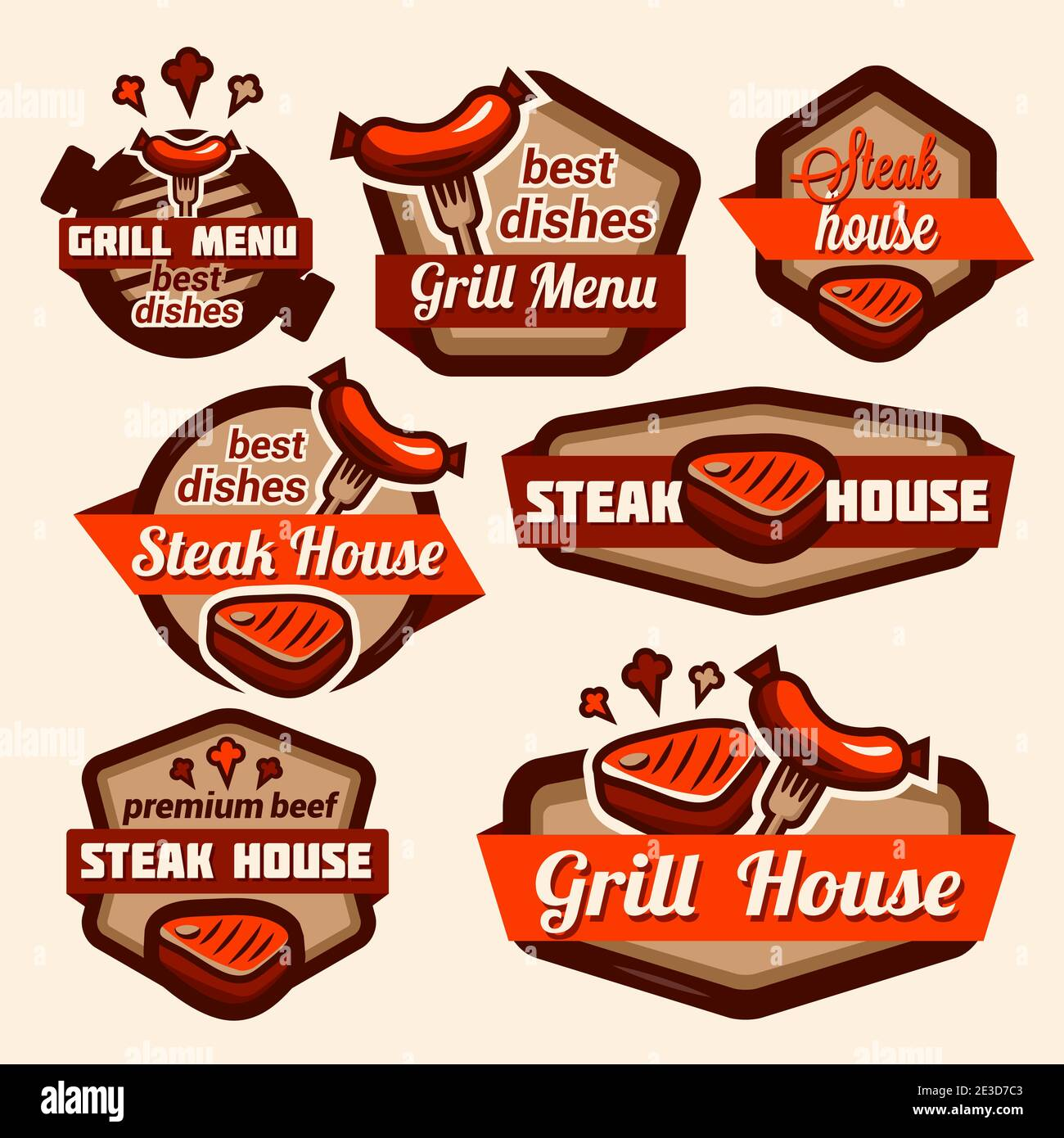 Fast food and BBQ Grill elements, Typographical Design Label or Sticer. Design Template. Vector illustration. Stock Vector