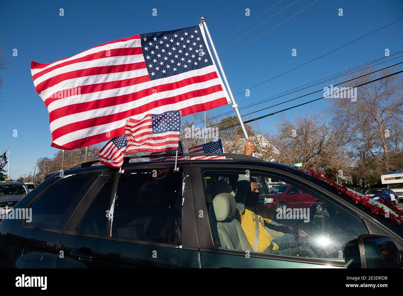 Sacramento, CA, USA. 18th Jan, 2021. 100's of cars participated in the Black Lives Sacramento and NCAAP #ReclaimMLK Day car caravan in celebration of Martin Luther King Jr birthday  Monday, Jan. 18, 2021 in Sacramento. Credit: Paul Kitagaki Jr./ZUMA Wire/Alamy Live News Stock Photo
