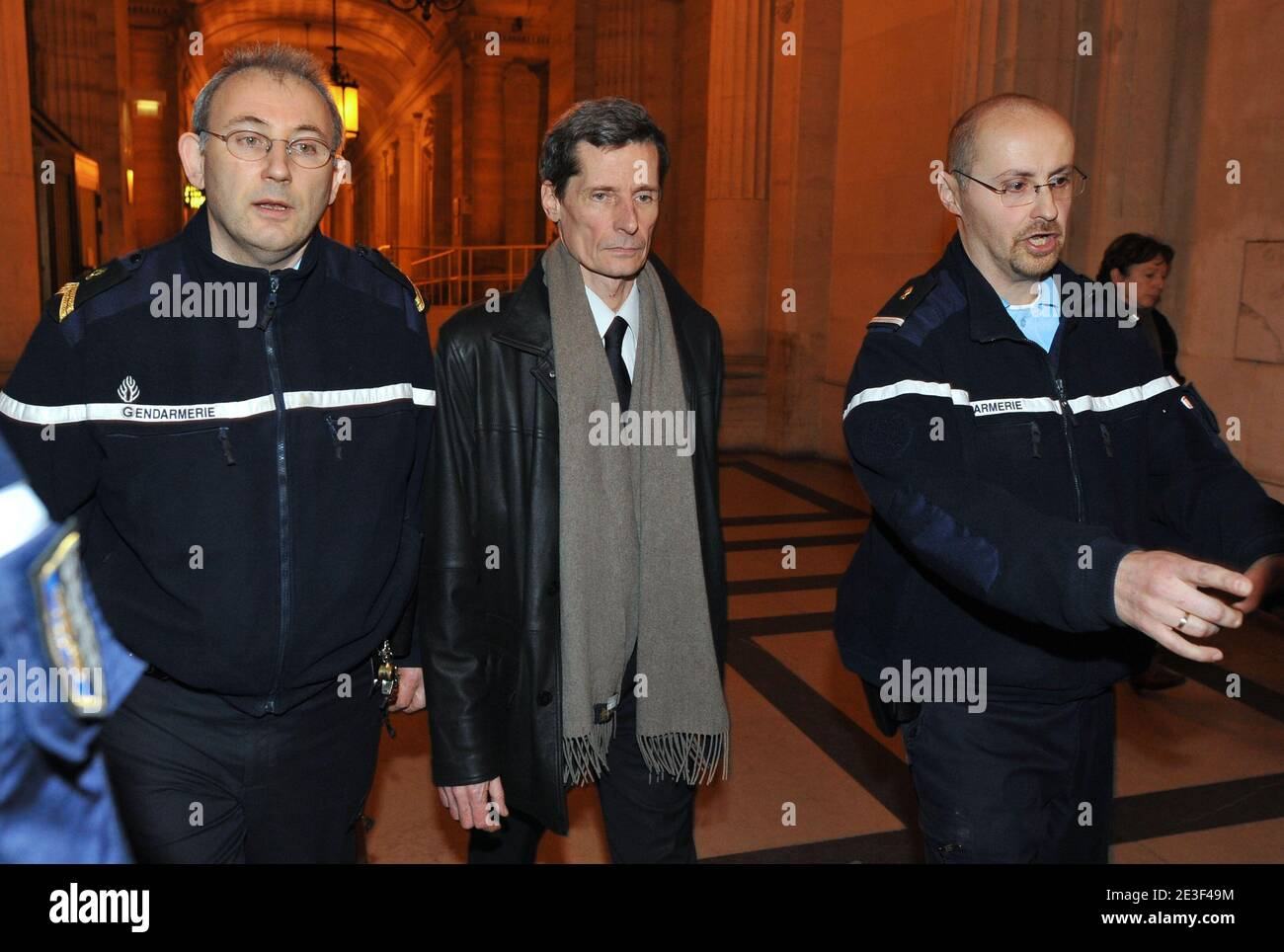 Witness and French police officer Didier Vinolas leaves Paris courthouse after being heard during the trial of Yvan Colonna in Paris, France, on February 16, 2009 tried for the assassination of Corsica's prefect Claude Erignac in 1998. The appeal process is calling for a new investigation following the release of fresh information from Vinolas. Photo by Mousse/ABACAPRESS.COM Stock Photo