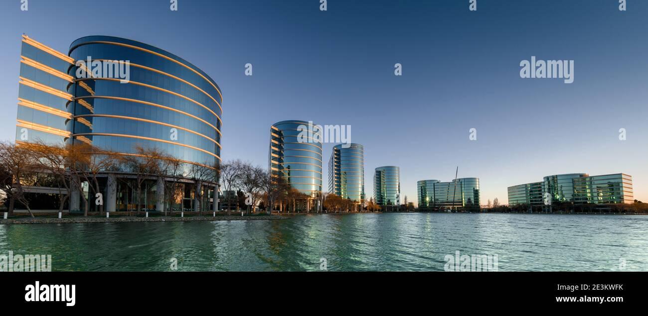 Redwood Shores, California - January 19, 2021: Sunrise over Oracle Headquarters and Lake. Stock Photo