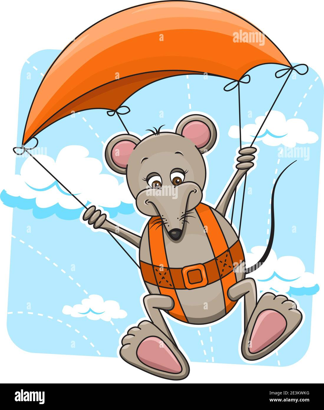 Cute cartoon vector illustration of Mouse flying on the parachute. Stock Vector