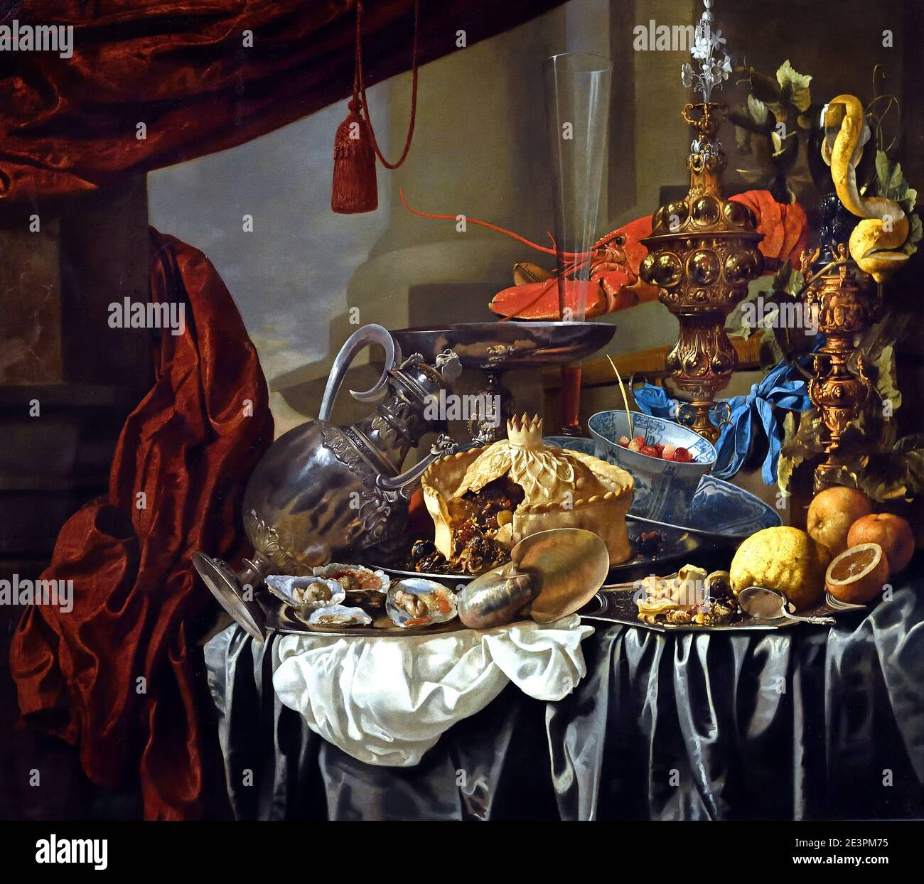 Banquet Still Life with Silver and Gilt Vessels, a Nautilus Shell, Porcelain, Food and Other Items on a Draped Table 1650  by Christian Luycks 1623-1670 Antwerp Belgian, Belgium, Flemish, Stock Photo