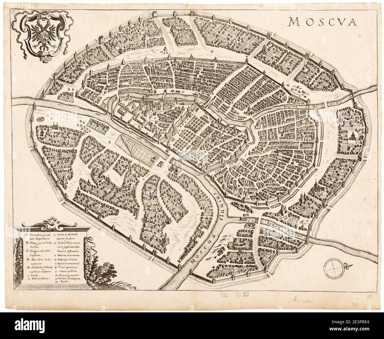 Map of Moscow by Matthäus Merian. Stock Photo