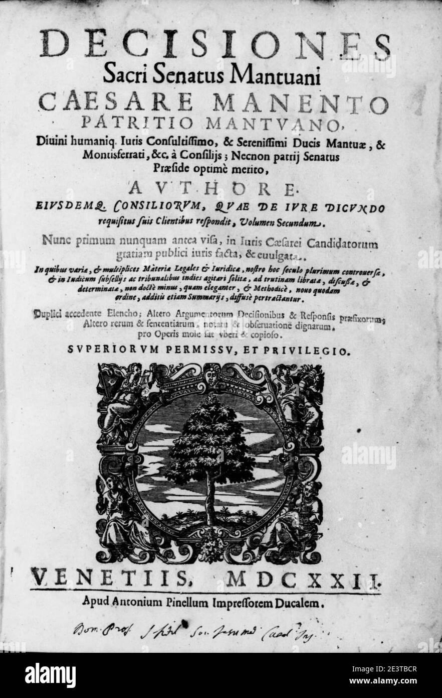 Manenti, Cesare   Decisiones sacri Senatus Mantuani, 1622   BEIC 13677110. Stock Photo