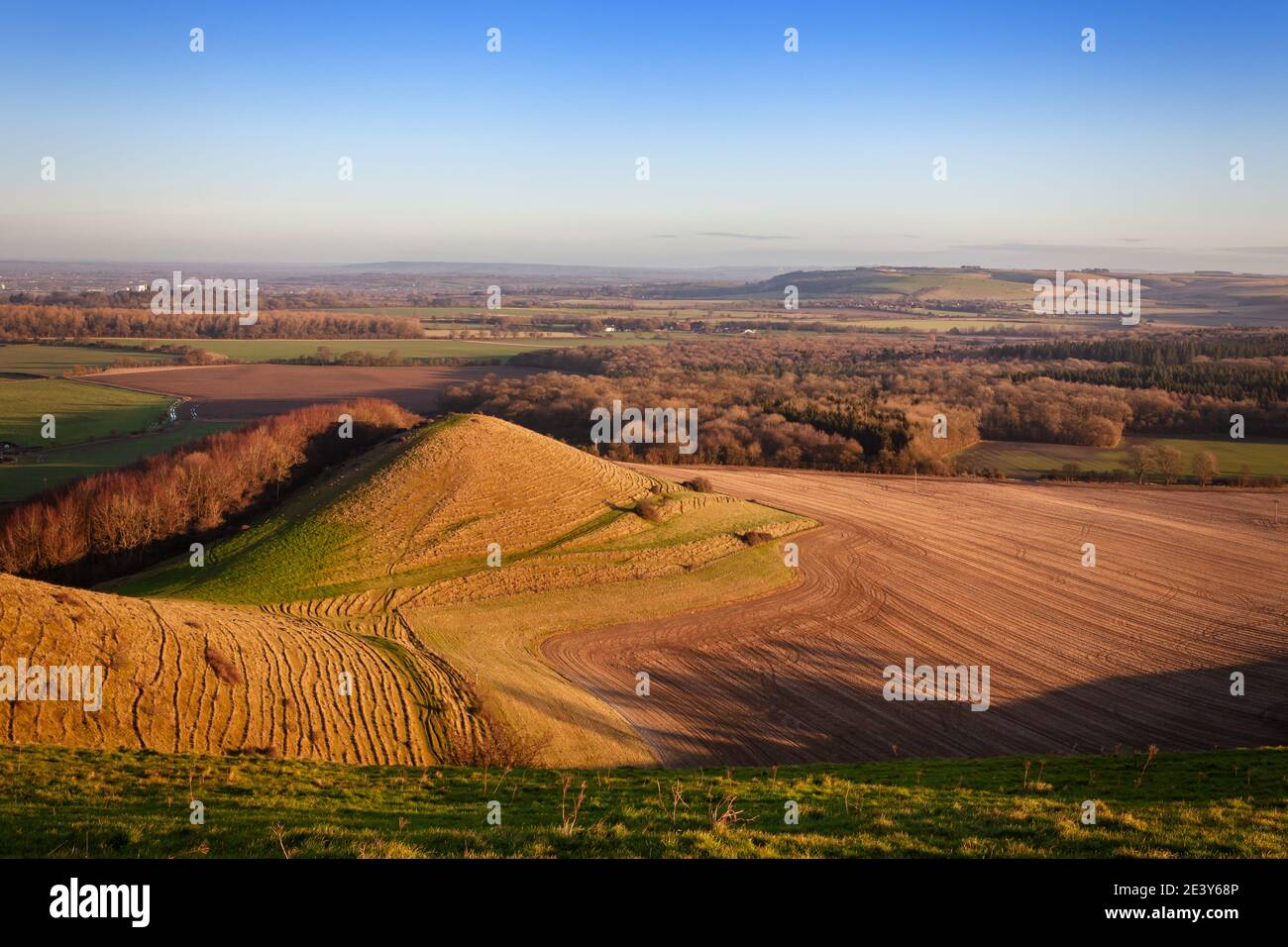 Looking out from Cley Hill across Warminster, Wiltshire Stock Photo