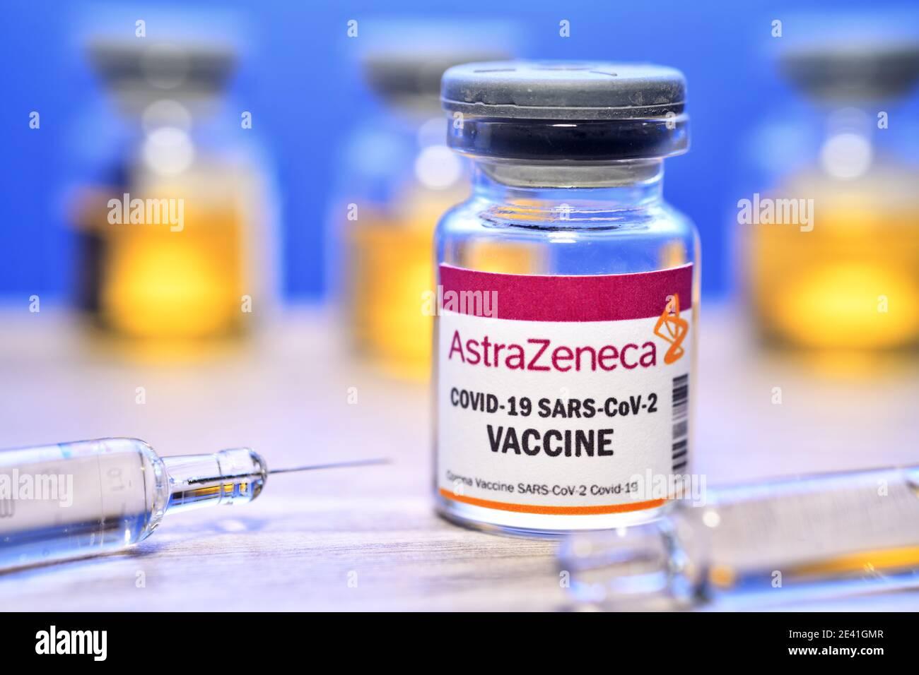 AstraZeneca Covid Vaccine, Symbolic Image Stock Photo