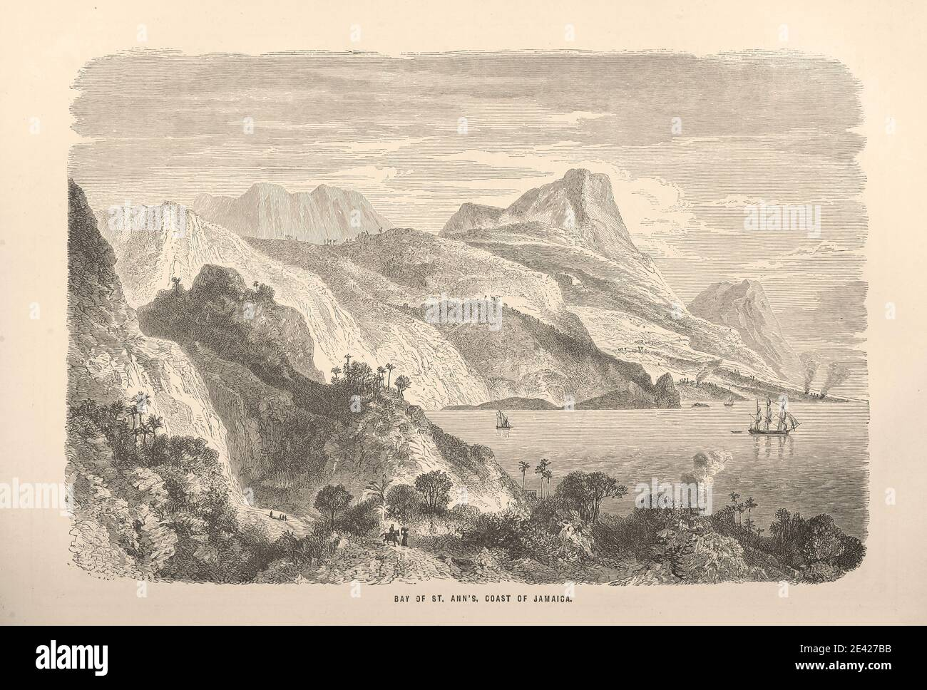 """BAY OF ST ANN COAST OF JAMAICA Image taken from page 269 of 'Wanderings in every Clime; or, voyages, travels, and adventures all round the world ... A sequel to """"The Earth delineated with pen and pencil"""" ... With ... illustrations, etc' Stock Photo"""