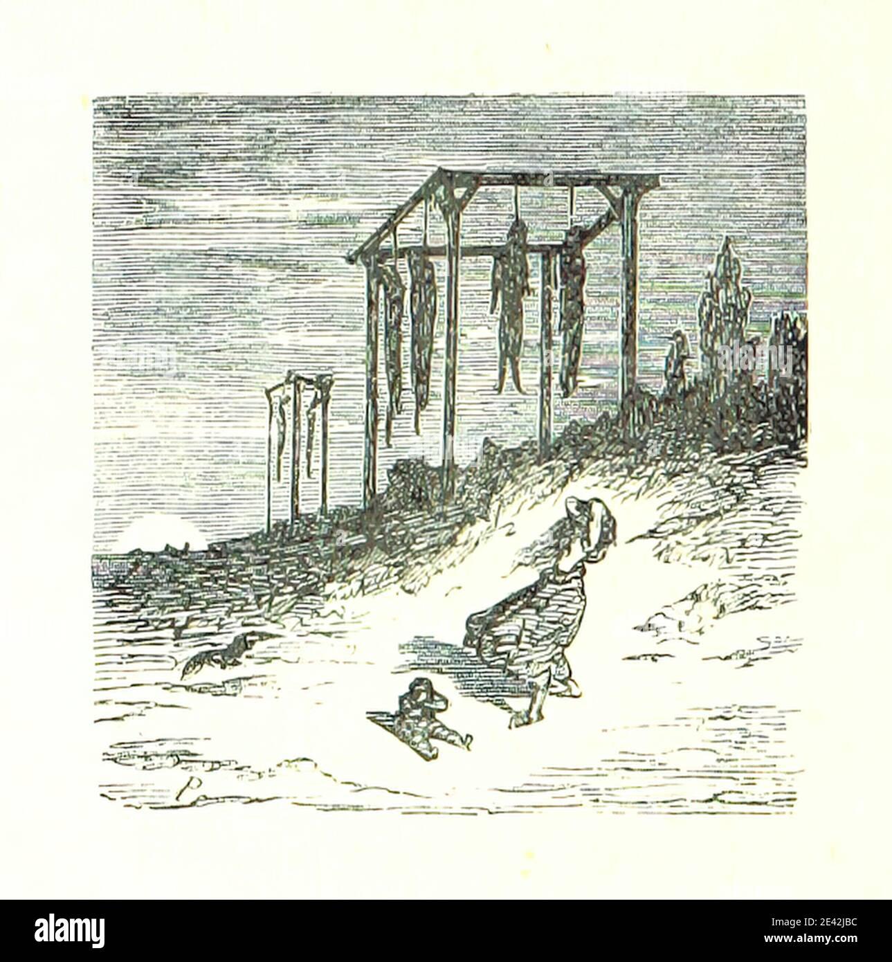 Gibet - Image taken from page 114 of 'Voyage aux Pyrénées ... Troisième édition illustrée par Gustave Doré' Stock Photo