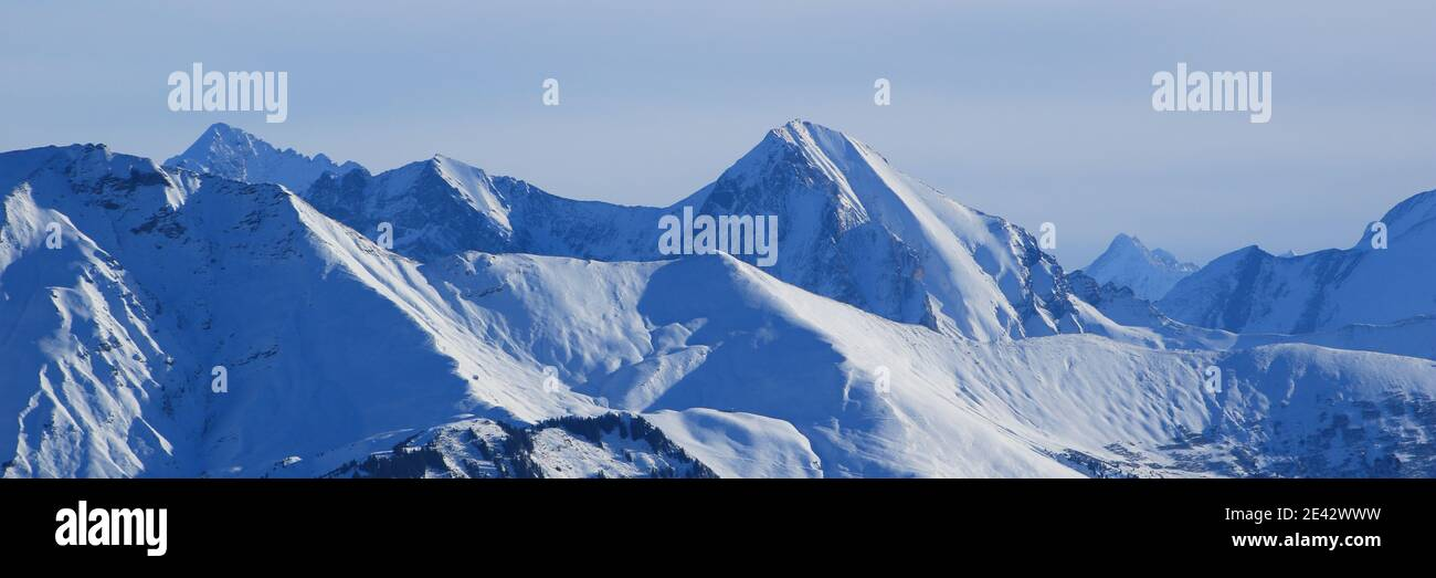 Mountain ranges in the Bernese Oberland. Stock Photo