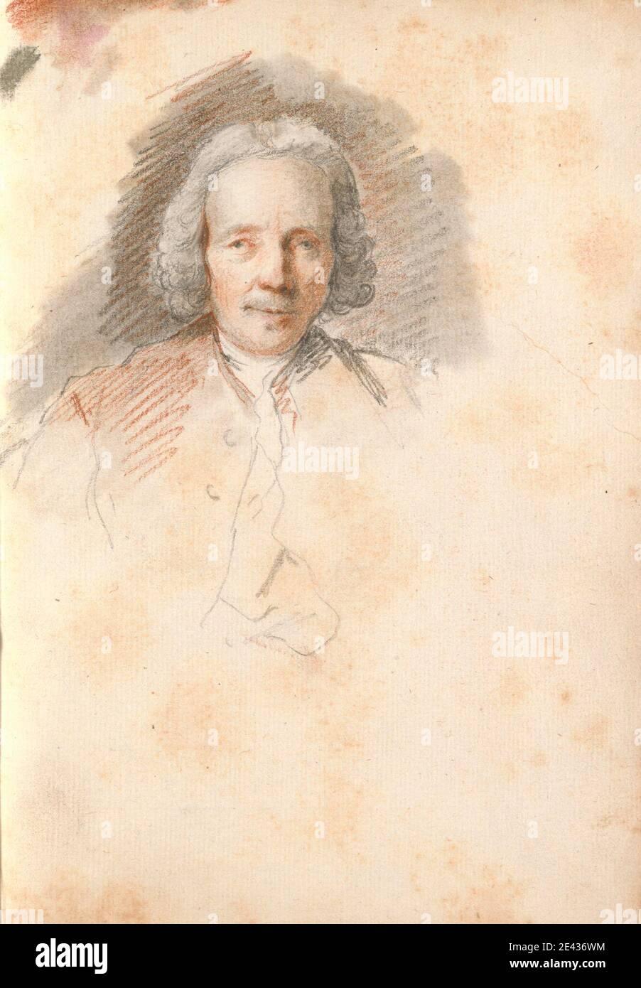 Thomas Patch, 1725–1782, British, Head of an Elderly Man, 1760s. Black chalk, red chalk and gray wash on medium, slightly textured, cream laid paper bound in carta fiorentina.   Grand Tour , portrait Stock Photo