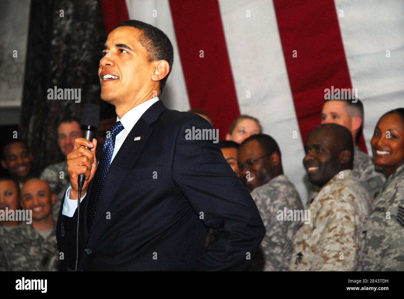 US President Barack Obama visits Al Faw Palace on Camp Victory, near Baghdad, Iraq on April 7, 2009, during his first trip to the country as commander in chief, declaring it time for U.S. troops to start leaving and Iraqis to take complete charge of their country. Photo by Lee Craker/DoD via ABACAPRESS.COM Stock Photo