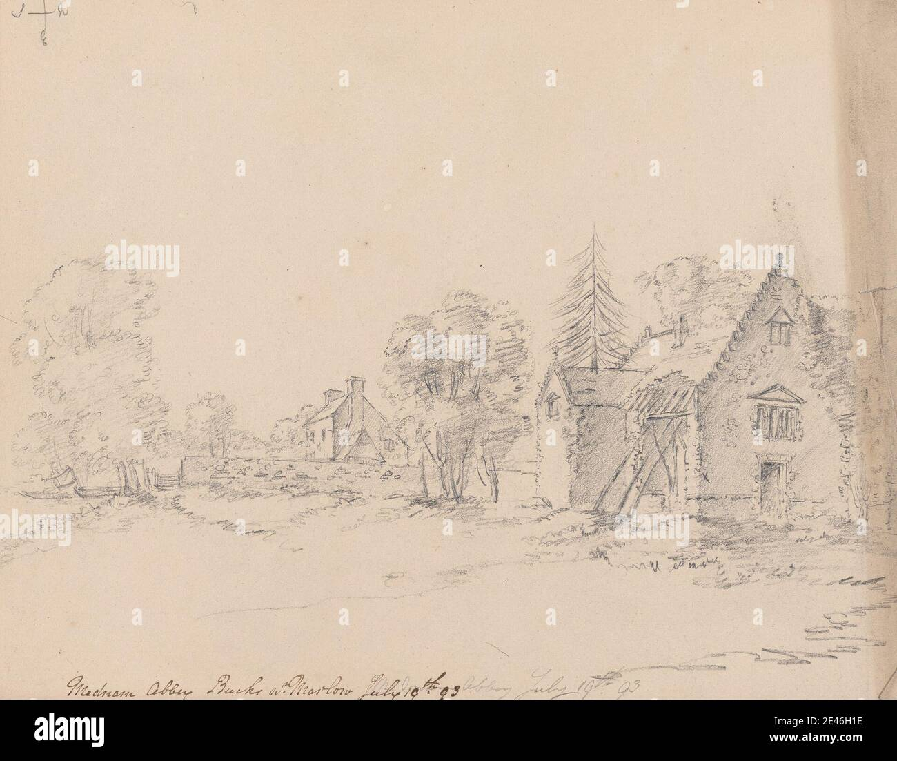 James Moore, 1762–1799, British, Medmenham, England, 1793. Graphite on medium, slightly textured, beige, wove paper. Stock Photo