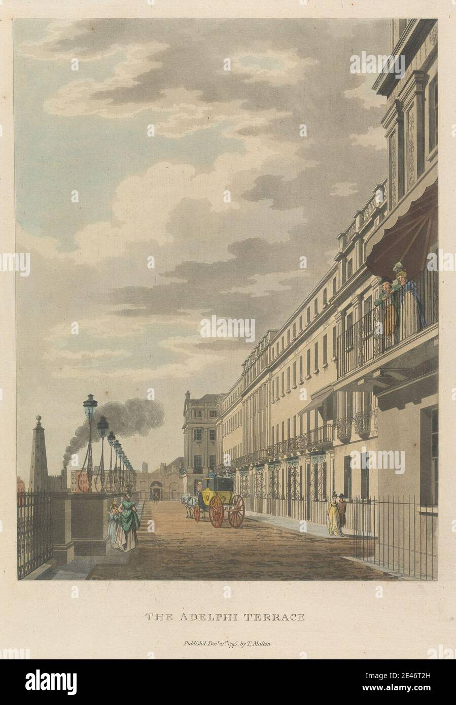 /'Adelphi Terrace/' London Decorative view by William TOMBLESON 1835 old print