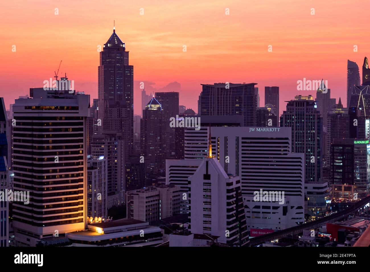 Sunset landscape over Bangkok, Thailand Stock Photo