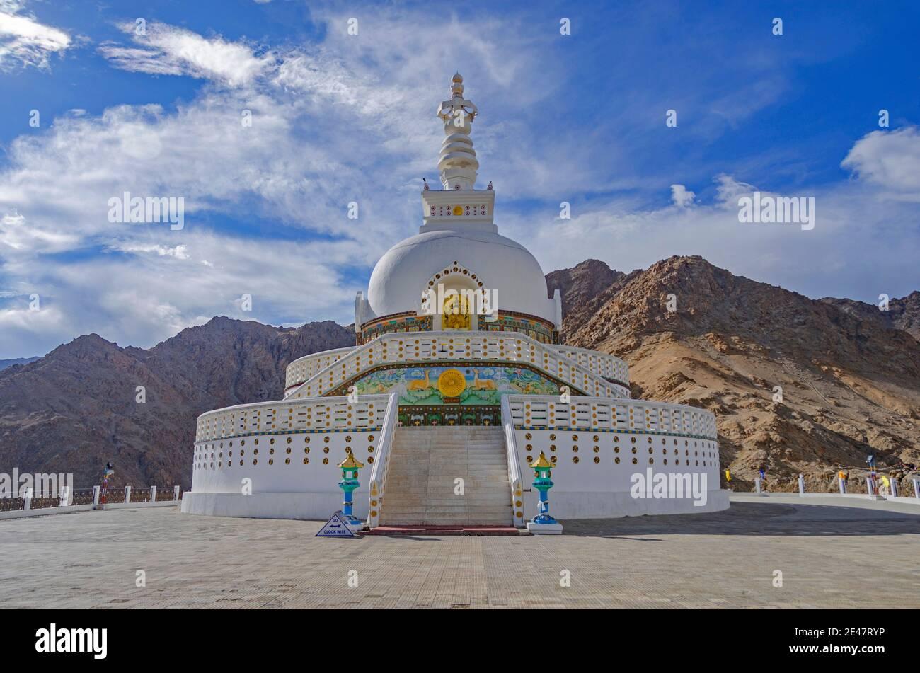 Shanti Stupa  a Buddhist white-domed stupa on a hilltop in Chanspa, Leh district,  Ladakh, India Stock Photo