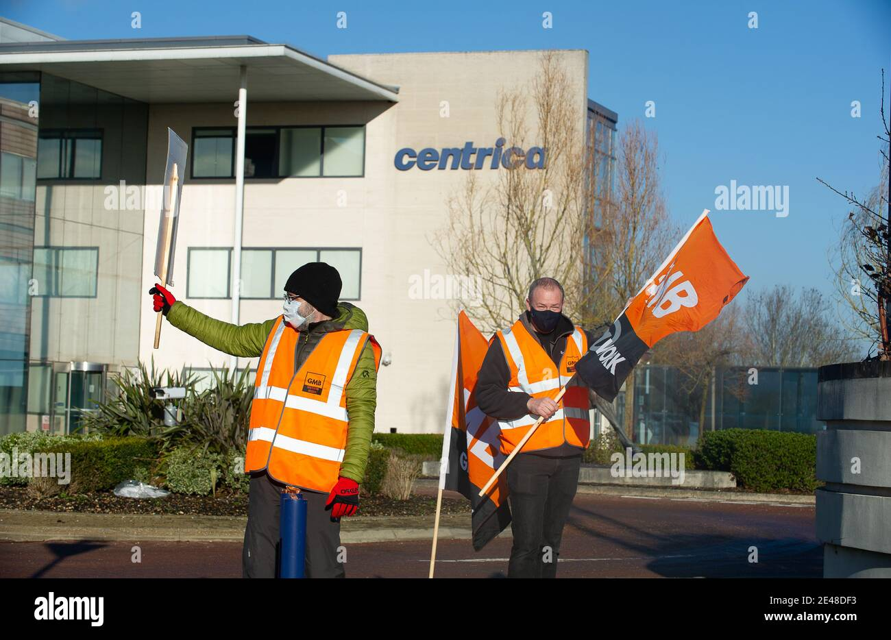 """Windsor, Berkshire, UK. 22nd January, 2021. Day six of the British Gas strike was 'rock solid' asan estimated 7,000 workers downed tools over thecompany'splanto sack them all. This morning British Gas Engineers burnt their """"sign or be fired"""" contracts outside the head office of parent company Centrica. British Gas engineers and staff voted overwhelminglyby 89% to strike after the boss of parent company Centrica Chris O'Shea, threatened to fire them all if they didn't""""accept""""cuts to pay and terms and conditions.Credit: Maureen McLean/Alamy Live News Stock Photo"""