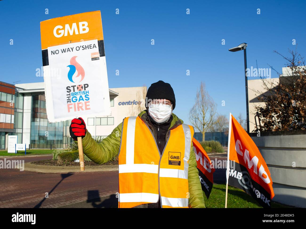"Windsor, Berkshire, UK. 22nd January, 2021. Day six of the British Gas strike was 'rock solid' as an estimated 7,000 workers downed tools over the company's plan to sack them all. This morning British Gas Engineers burnt their ""sign or be fired"" contracts outside the head office of parent company Centrica. British Gas engineers and staff voted overwhelmingly by 89%  to strike after the boss of parent company Centrica Chris O'Shea, threatened to fire them all if they didn't ""accept"" cuts to pay and terms and conditions. Credit: Maureen McLean/Alamy Live News Stock Photo"