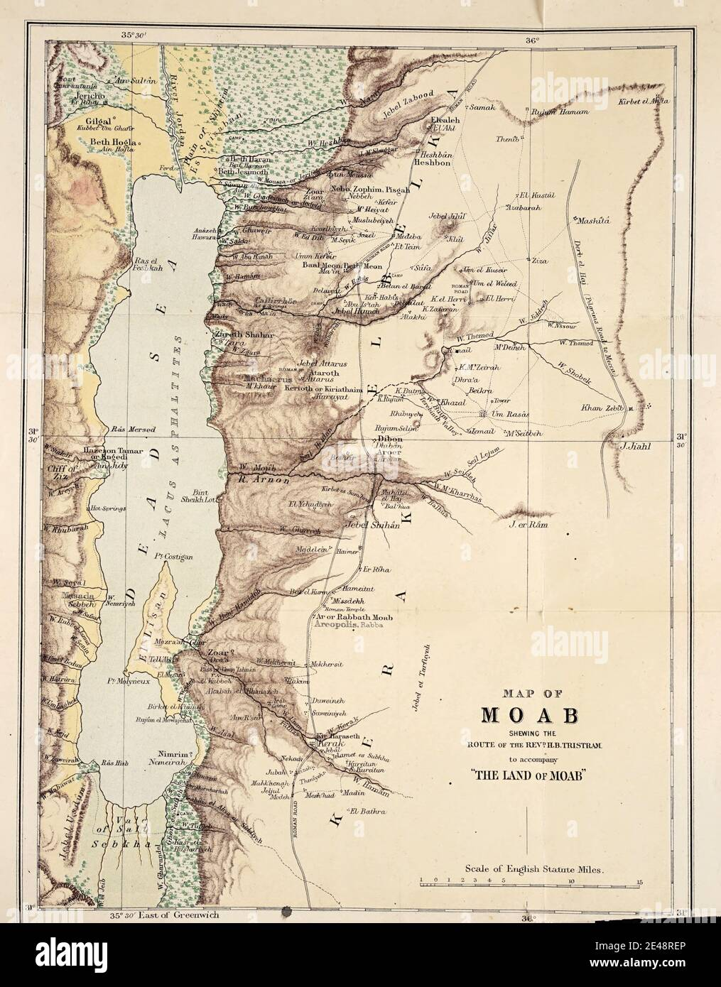 Ancient Map of Moab and the Dead Sea from 1873 From the book ' Land of Moab : travels and discoveries on the east side of the Dead Sea and the Jordan ' by Tristram, H. B. (Henry Baker), 1822-1906 Published in London in 1873 by  J. Murray Stock Photo