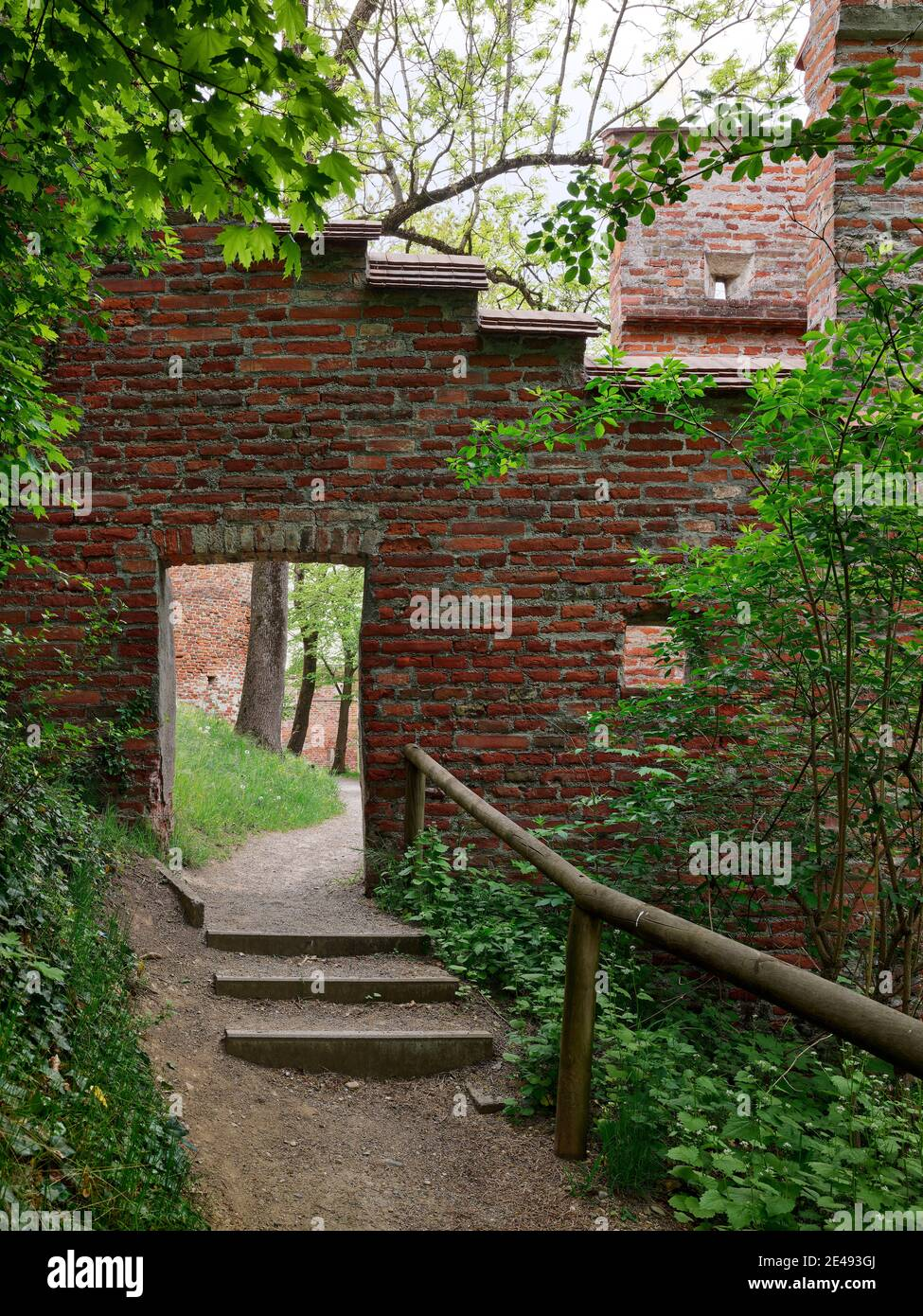 City wall, wall, brick wall, brick, path, gravel path, spring morning, old town, monument, place of interest, historic building, historic old town, listed Stock Photo